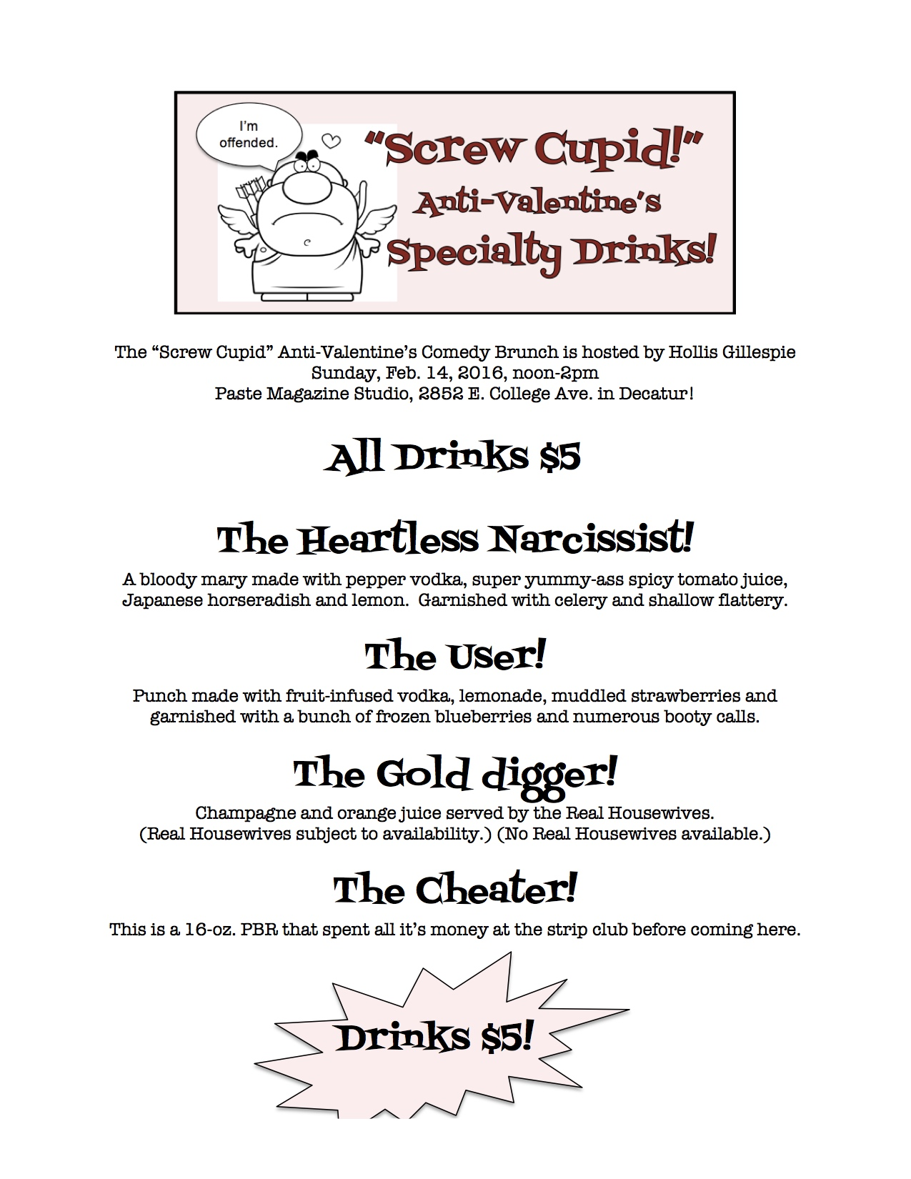 valentine's drink menu flier